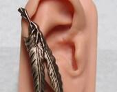 Steampunk Raven Feather Ear Cuff ( right ear )