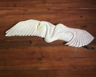 Flying Great Egret 4ft. chainsaw wood carving bird sculpture lowcountry wildlife beach coastal living art home and garden decor   wall mount