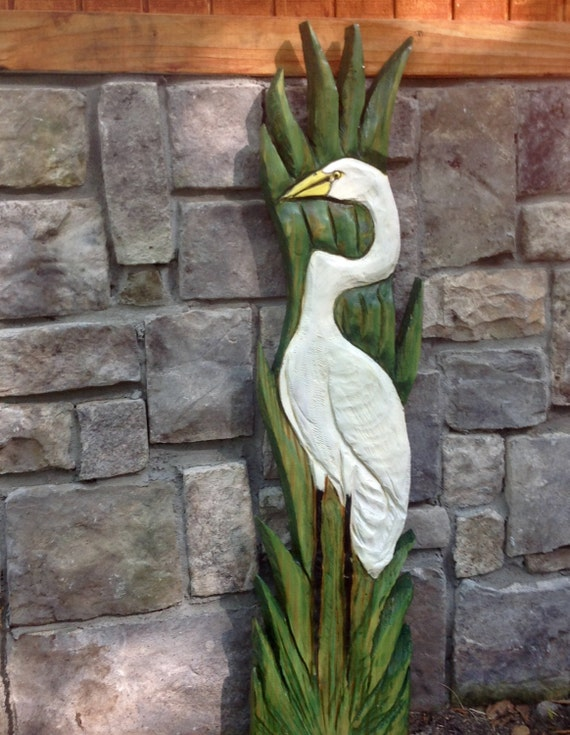 Standing White Egret 4ft. chainsaw wild bird carving lowcountry nautical cottage decor wooden hand painted sculpture wall mount original art