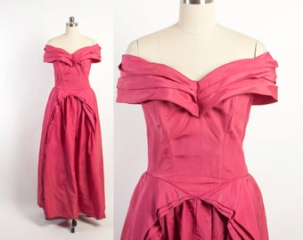 Vintage 40s Party Dress / 1940s Fred Perlberg Hot Pink Off the Shoulder Ball Gown XS - S