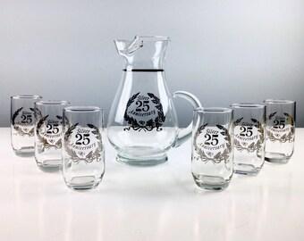 Mid Century Barware Set, 25th Anniversary Glasses and Pitcher, Anniversary Party, Silver Anniversary Gift