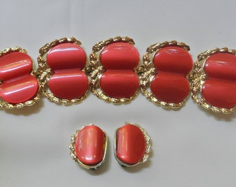 Vintage Red Thermoset Bracelet And Earring Set