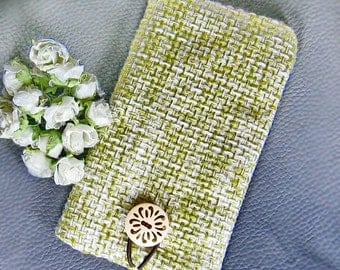 6P iPhone sleeve, Samsung Galaxy S3, S4, Galaxy note, cell phone, ipod classic  sleeve- fine cotton linen