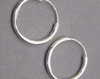 Sterling Silver Interchangeable Hoop Earrings, Silver Hoop Earrings, Sterling Silver Earrings, Charm Earrings