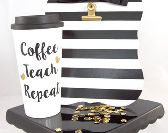 Teacher Gift, Travel Coffee Mug, Coffee Teach Repeat, Cute Travel Mug, Plastic Coffee Cup, Teacher Appreciation