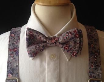 Men's Floral Bow Tie And Suspender set / Bow Ties Men / Custom Made Pre-tied Bow Tie / Country Wedding / Groom / Gray Wedding  Retro Wedding