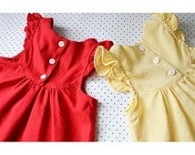 Yellow Girl Dress Toddler Baby Cotton Buttercup Marie Antoinette Romantic Ballerina Frock Infant Cute Flutter Sleeves Woodland Daisy Dress