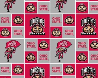 Ohio State University Buckeyes Cotton Fabric 1/2 Yard