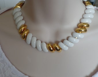 Monet White and Gold Necklace, White Enamel Necklace, Vintage Necklace, Fashion Jewelry