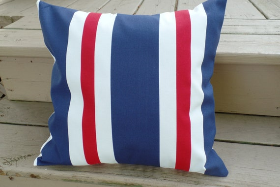 Sale Outdoor Pillow Cover Red White And Blue Stripe Pillow