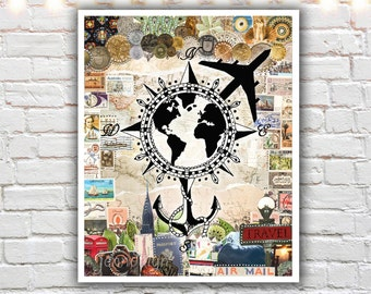 travel wall art - travel poster - wanderlust print - mixed media collage art - prints