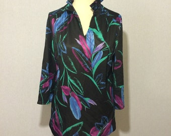 Vintage Neon Feather Graphic 70s Blouse