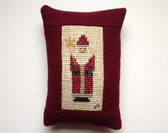 Wool Pillow Cross Stitched Santa Christmas Gift Decor