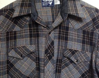 "Vintage Wrangler plaid wool shirt, western yolk, snap buttons, grey black beige, grunge 90s flannel, pendleton style, 44"" chest size L M"