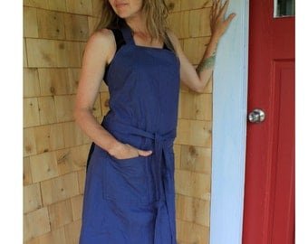 Organic Hemp/cotton wrap around apron dress