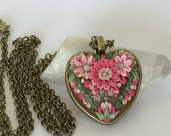 Hand Sculpted Polymer Clay Heart Floral Pendant