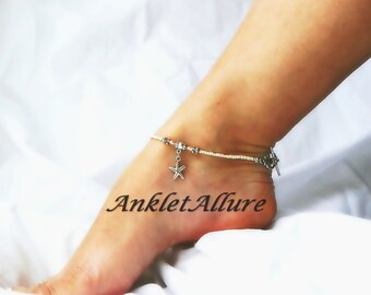 Gypsy Beach Anklet Sea LIfe Starfish Charm Ankle Bracelet Freshwater Pearl Ankle Bracelet