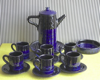 Vintage German Studio Pottery Tea Set in Electric Blue