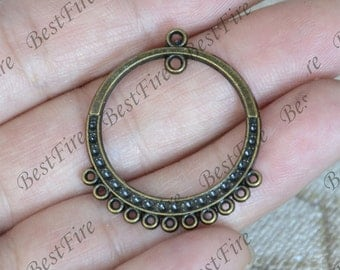 12 pcs of Antique Bronze Circle Connector pendant, charm Metal Earring Components ,earring Pendant charm