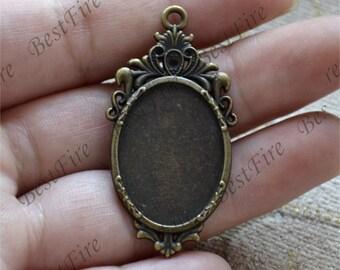 8 pcs Antique bronze oval Cabochon pendant tray (Cabochon size 18x25mm),bezel charm findings,lacework findings,cabochon blank finding