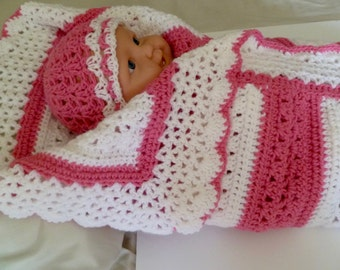 Crib Size, Beautiful Baby Blanket With Matching Hat Or Bonnet