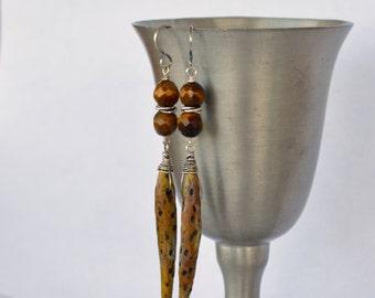 Spike Pod Earrings, Ceramic Art Bead,  Speckled, Pitted, Glowing Tiger Eye, Sterling Silver Wired Earrings