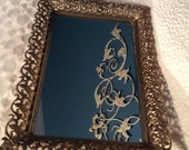 "PRE SPRING SALE Vintage 14"" Large Gold Plated 24Kt Filigree Dresser Mirror Vanity Tray Ormolu Footed by Matson"