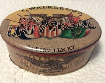 Vintage T. Walker Universal Tobacco Tin Container Cut Plug Louisville Kentucky