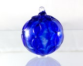 Blown Glass Holiday Ornament in Cobalt Blue