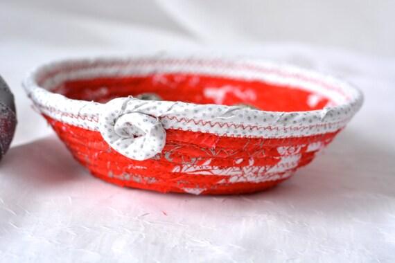 Christmas Candy Dish, Handmade Holiday Decoration, Homemade Christmas Decoration, Decorative Red and Silver Basket