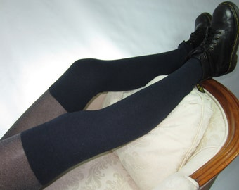 Navy Blue Thigh High Boot Socks Over the Knee Leg Warmers Cotton Cashmere Blend A1807