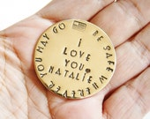 Hand Stamped Token Be Safe Wherever You May Go Pocket Love Token Military Deployment BRASS Keepsake Coin Memento Soldier American Flag