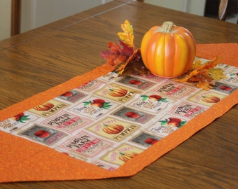 Fall Table Runner with Vintage Produce Labels - Kitchen Table Decoration, Table Runner
