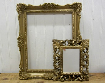 Two Vintage Molded Ornate Polystyrene Resin Plastic Rectangle Picture Frames Mirror