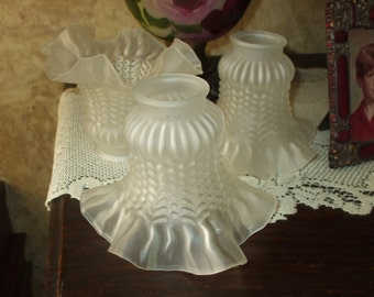 Frosted Glass Sconce Light Shades Globes Ruffled White Glass Ceiling Light Fan Or Lamp Replacement Set of 3 Vintage