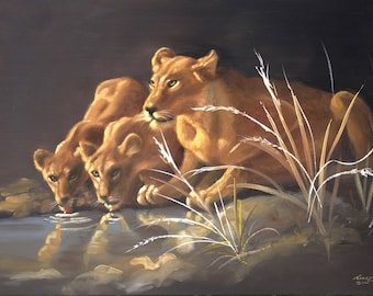 Africa Lions painting by RUSTY RUST 24x36 wildlife animal oils on canvas / L-181