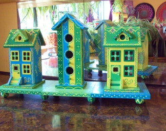 Three Birdhouse Display/Handpainted Original Design/Green/Blue/Yellow/Floral Designs/Whimsical/Home Decor/Tabletop/Dots and Doodles