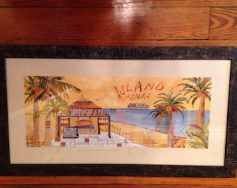 Two framed tropical island prints