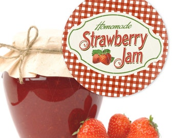 Homemade Strawberry Jam Labels, Instant Download, Print Your Own
