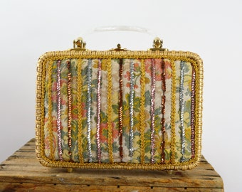 Vintage Purse Straw Box Handbag Tapestry Gold Sequins and Lucite Top Handles