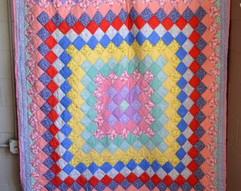 Vintage Quilt 1940s Quilt Pink and Blue Solids and Floral Calico Squares Hand Stitched HandMade Double Size 65 X 85 Nice Condition