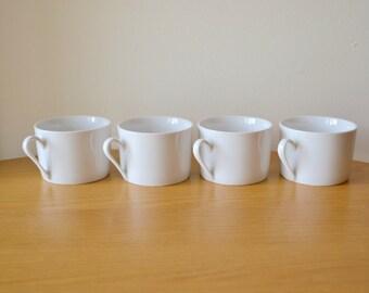 Mid Century White Porcelain Cups