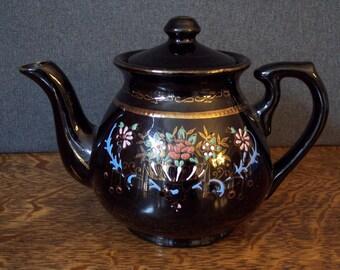 Vintage Brown Glazed Redware Moriage Design Teapot