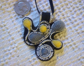 Abstract Felted Wool Zipper Pendant