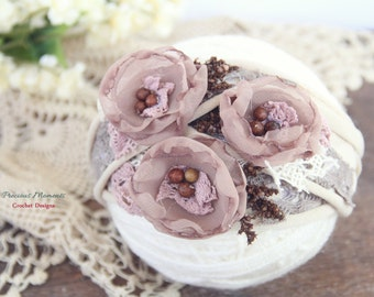 Newborn Tieback, Taupe Beige Brown Tieback, Newborn Tie Back Headband, Newborn Photo Prop, Vintage Headband, Flower Tieback, Newborn Halo