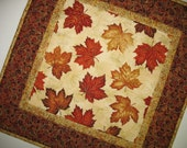 Autumn Table Topper with leaves, metallic, quilted, focus fabric from Hoffman