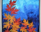Autumn Leaves Wall Hanging, fall, quilted, silk leaves, orange, yellow, blue