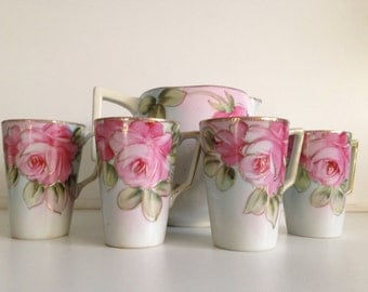 Antique Nippon Lemonade Set: Pitcher & 4 Cups, Hand-Painted Roses