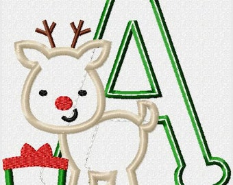 Birthday Number or Initial with Reindeer with Present Embroidered Personalized Shirt or Bodysuit