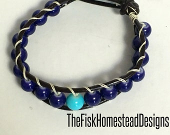 Leather Wrap Bracelet -Blue Single Stacking